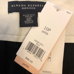 NWT Banana Republic black strip Harrison fit pants